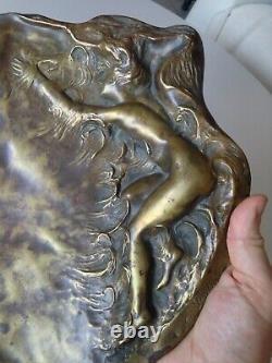 Belle Coupe Vide Poche Bronze Art nouveau Femme Nue signé E Porcher 32cm