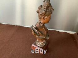 Belle Epoque Art Nouveau Buste Femme Bronze Signé V. Bruyneel / Sculpture