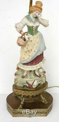 Belle LAMPE Ancienne Statue Femme en Biscuit et Base en Laiton