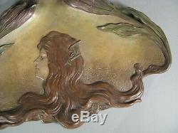Bernard Bloch Plaque Terre Cuite Polychrome Style Art Nouveau Jeune Femme