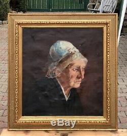 Biedermeier Art Nouveau Portrait de Femme une Plus gés avec Bonnet