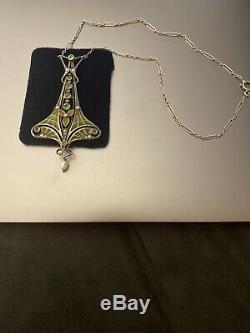 Bijoux Pendentif KARL HERMANN femme- Art Nouveau En Argent Et Plique-à-jour