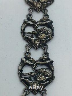 Blackinton Ancien Argent Sterling Art Nouveau Femme Long Breloque Pendentif
