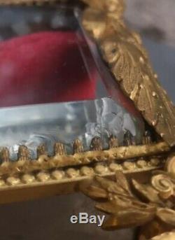 Boite a bijoux ancienne en verre et bronze art nouveau nymphe femme baccarat