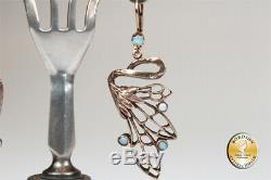 Boucle D'Oreille Argent Doré Opale Art Nouveau Rétro D'Oreilles Bijoux Femmes
