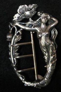 Boucle De Ceinture Art Nouveau 1900 Bronze Argente Decor De Femme C1070