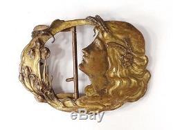 Boucle de ceinture laiton doré femme fleurs Art Nouveau signée buckle XIXè