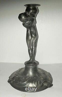 Bougeoir En Etain Femme Nue Style Art Nouveau Pewter Candlestick