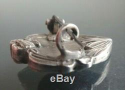 Broche art nouveau argent massif élégante femme brooch jugendstil silver 1900