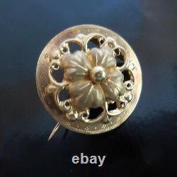 Broche fleur or bijou joaillerie femme Art Nouveau Belle époque France N4036