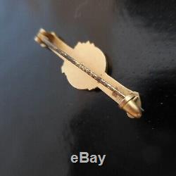 Broche or fleur femme personnage médaille bijou joaillerie Art Nouveau N4039