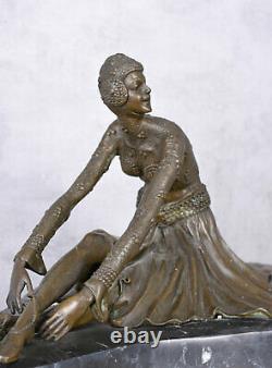 Bronze Antique Art Déco Sculpture Socle en Marbre Figure Féminine Orient