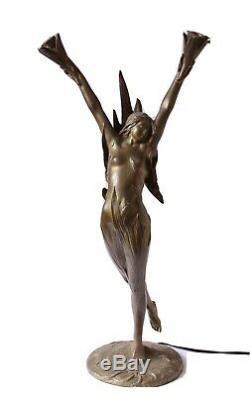 Bronze Art Nouveau Femme 1900 Lampe