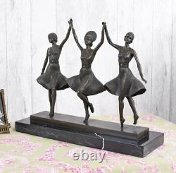Bronze Trois Grazien Figure de Art Déco Chiparus 9kg Féminine Antique