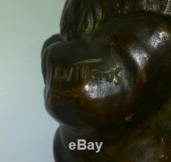 Bronze Villanis Buste Femme Rêve art nouveau cachet