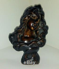 Bronze Villanis Buste Femme Rêve art nouveau cachet fondeur