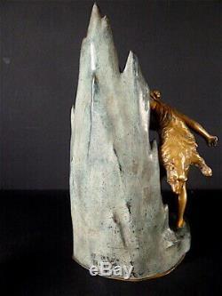 Bronze à Système Art Nouveau Femme nue Grotte Mystérieuse Médaille d'Or H GODET