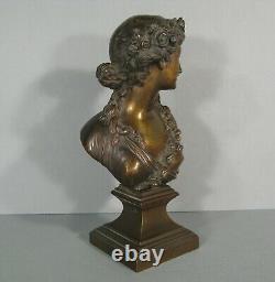 Buste Art Nouveau Jeune Femme A La Couronne De Fleurs Sculpture Bronze Ancien