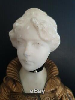 Buste De Femme albatre et bronze signé G. VAN VAERENBERGH, Art nouveau