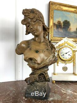 Buste De Jeune Femme En Terre Cuite Signé Morin Numeroté Epoque Art Nouveau