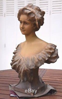 Buste Femme En Platre Art Nouveau / Signe Georges Morin (1874-1950)