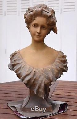 Buste Femme En Pltre Art Nouveau / Signe Georges Morin (1874-1950)