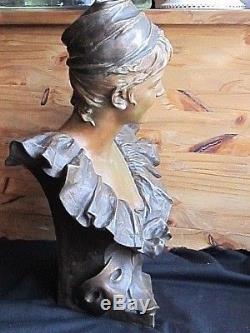Buste Femme bronze de Georges Van Der Straeten style Art-Nouveau Estampille