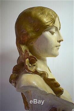 Buste Femme plâtre peint Art Nouveau jugendstil signé à identifier 64 cm