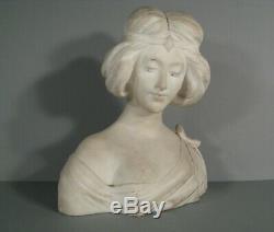 Buste Jeune Femme Style Art Nouveau Sculpture Ancienne Marbre Signé Pizi