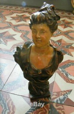 Buste Terre Cuite Art Nouveau Femme Signe G. Coudray+cachet L'art Francais/1900