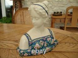 Buste de Femme ep Art Nouveau en Emaux La Louvière signé, années 1920, TBE