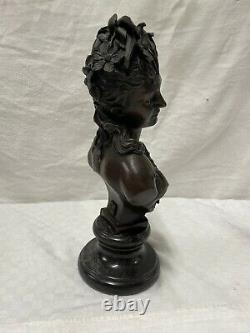 Buste de Flore (1865-70) Art nouveau Femmes buste, Bronze-Signé A. CARRIER
