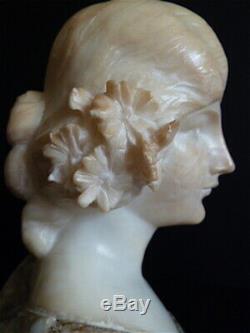 Buste de femme en albâtre bicolore Art Nouveau vers 1900