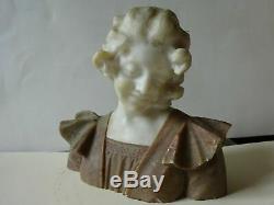 Buste de femme en albatre epoque art nouveau vers 1900
