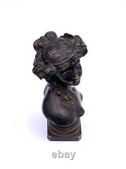 Buste en bronze femme Art Nouveau signé EH c. 1900 Antique women bust statuette