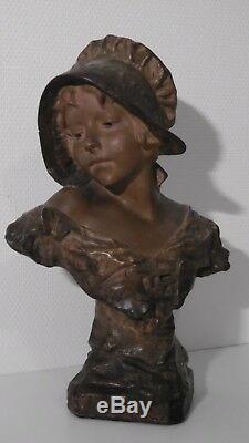 Buste en plâtre Art Nouveau d'une jeune femme signé R. Aurili