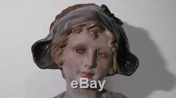 Buste en plâtre Rosette, signé F. CITTI. Art Nouveau d'une jeune femme