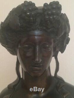 Buste femme en bronze art nouveau attribué à JEF LAMBEAUX (1852-1908)