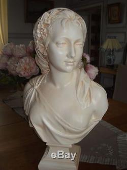 Buste jeune femme le printemps par le sculpteur Houdon reproduction artisanale