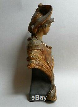 Buste terre cuite art nouveau Goldscheider E Tell jeune femme été or Autriche