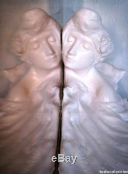 C. Lambert Escaler Barcelona Female Sculpture Art Nouveau MIROIR FEMME
