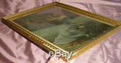 Cadre 1900 chromo lithographie art nouveau Femme à la flûte double & Iris
