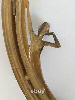 Cadre En Bronze Art Nouveau 1900 A Decor De Femme Nouille G2259