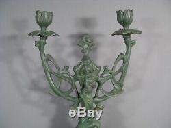 Candélabre Chandelier Style Art Nouveau Bronze Patiné Femme Fleur Jugendstil