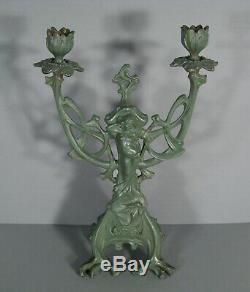 Candélabre Chandelier Style Art Nouveau En Bronze Patiné Femme Fleur Jugendstil