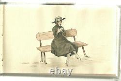 Carnet de 27 dessins plumes aquarelles années 1915 art nouveau femmes erotisme