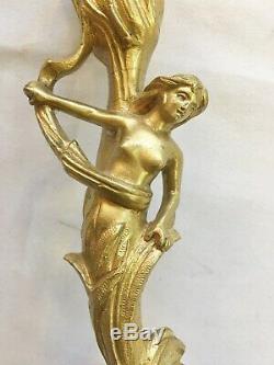 Chandelier Art Nouveau femme bronze doré