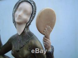 Chryséléphantine femme au lévrier statue Enrique Molins Balleste époque Art Nouv