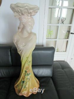 Colonne Delphin Massier barbotine. Vallauris. Femme art nouveau. 1,10m. Style Mucha