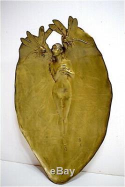 Coupe vide poche art nouveau bronze femme nue aux libellules jugendstil 1900